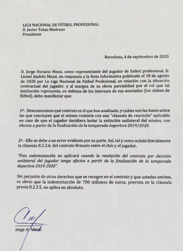 El comunicado de Jorge Messi a la Liga de España