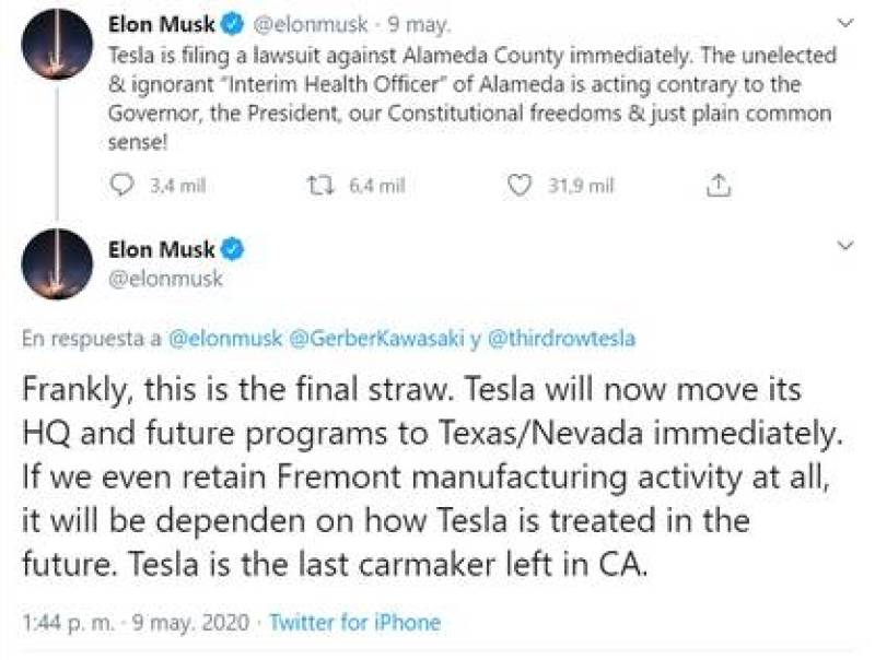 Elon Musk announced via Twitter that he plans to move Tesla's facilities outside of California and that he will sue Alameda County.