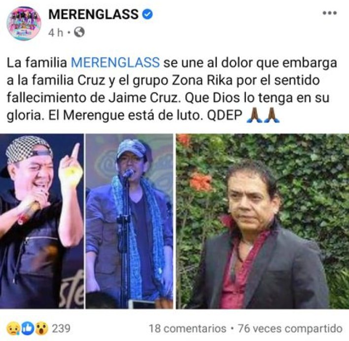 Agrupaciones y fanáticos del merengue se despidieron de Jimmy Cruz (Foto: Facebook/Merenglass)