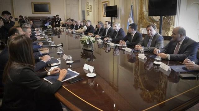 Mauricio Macri, el martes, durante el encuentro con los gobernadores por el Presupuesto 2019
