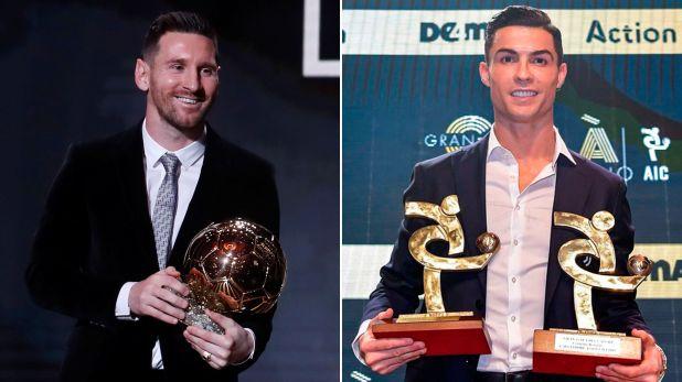 Dos imágenes del lunes: Messi con el Balón de Oro; Cristiano con los premios de la Serie A de Italia