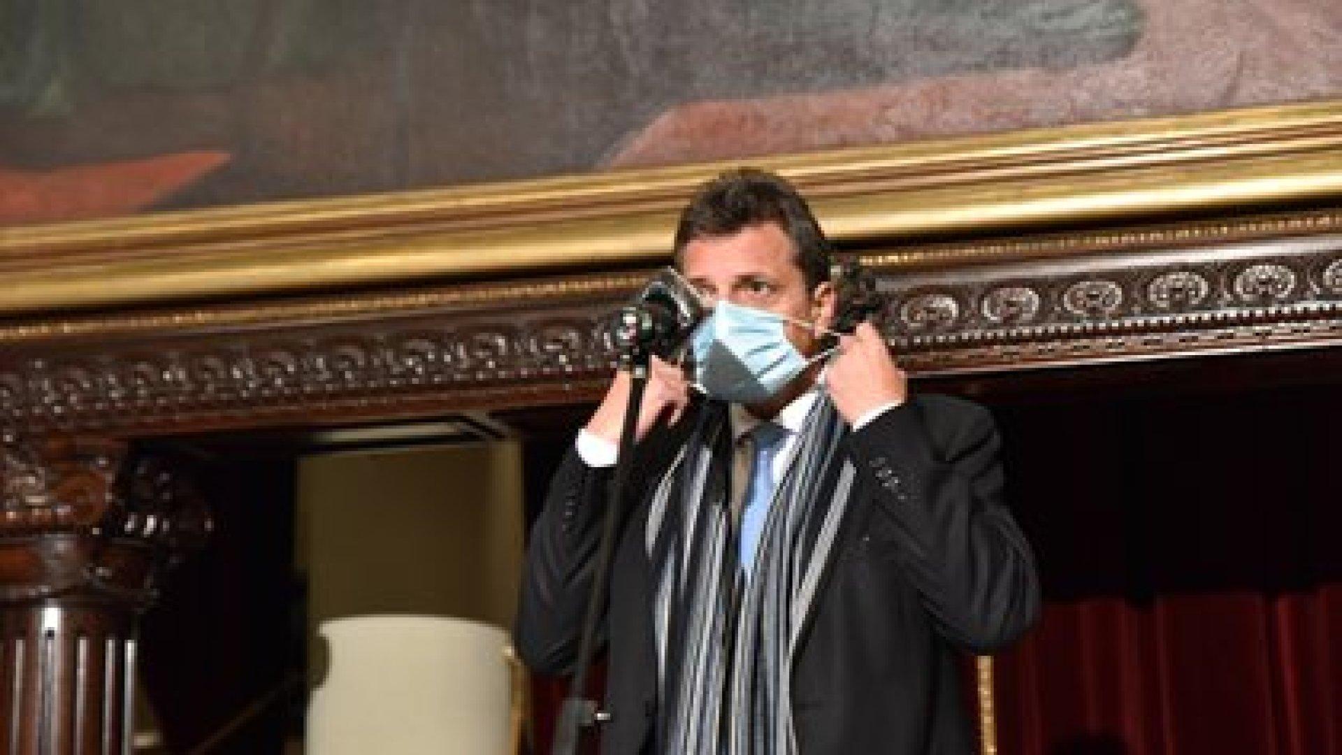Sergio Massa, antes de la conferencia de prensa en Pasos Perdidos (Franco Fafasuli)