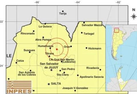 Un fuerte sismo de 5.9 se sintió en el límite provincial entre Salta y Jujuy (INPRES)