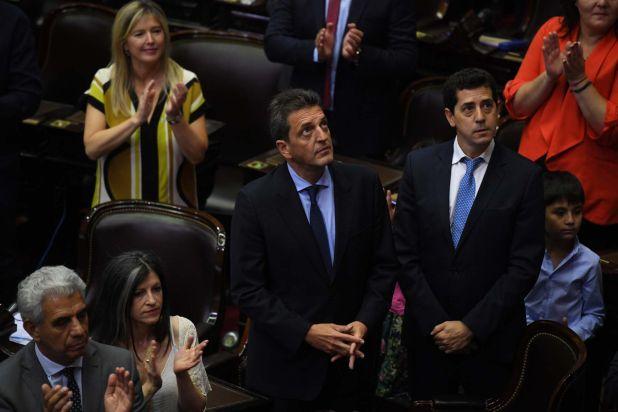 "Sergio Massa, presidente de la Cámara de Diputados, junto a ""Wado"" de Pedro"