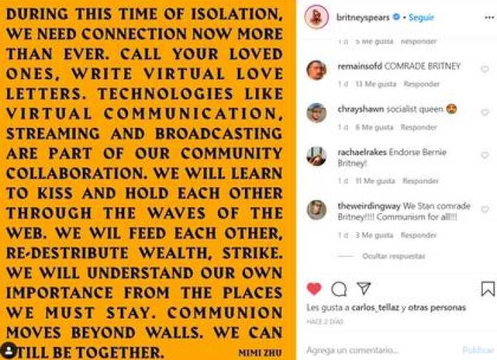 The thought of the lyricist in hong kong that Britney spread contains a load of socialist (Photo: Instagram @BritneySpears)