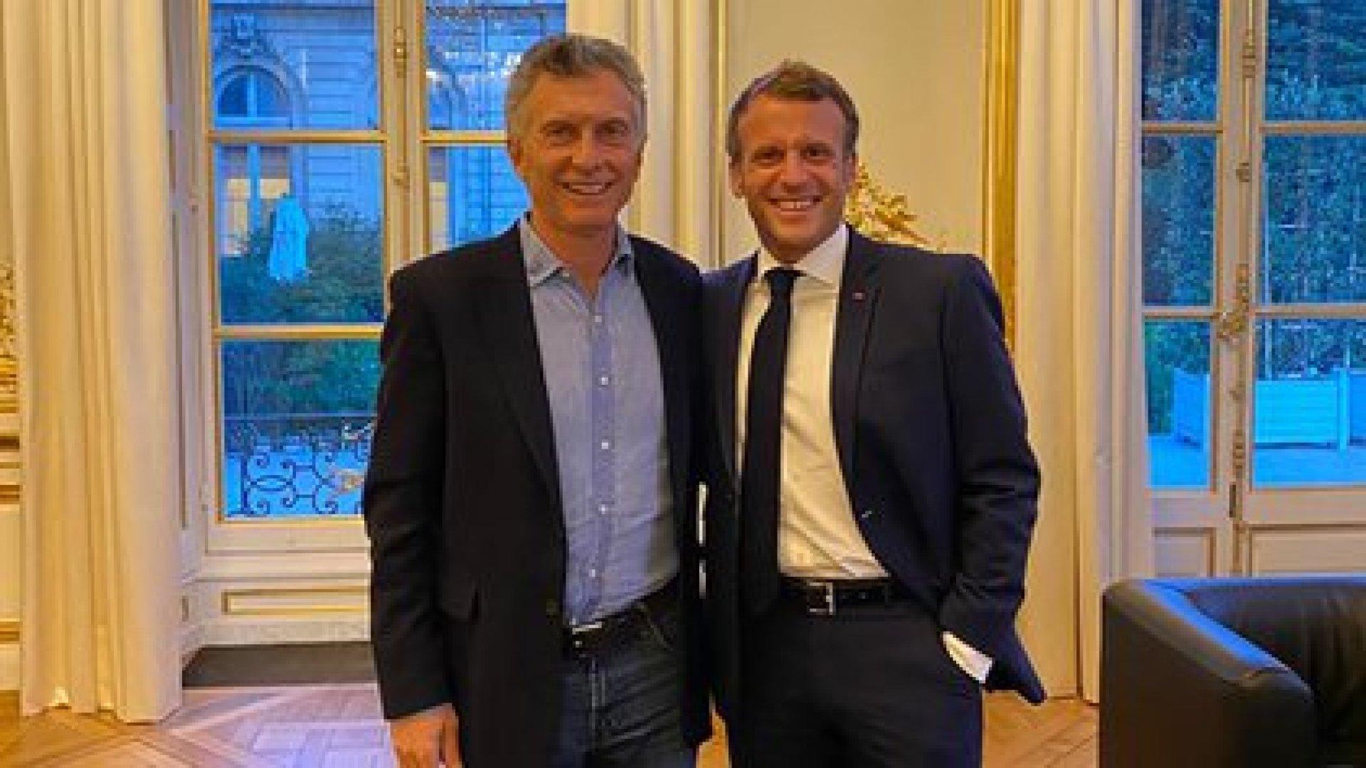 Mauricio Macri y Emmanuel Macron en París