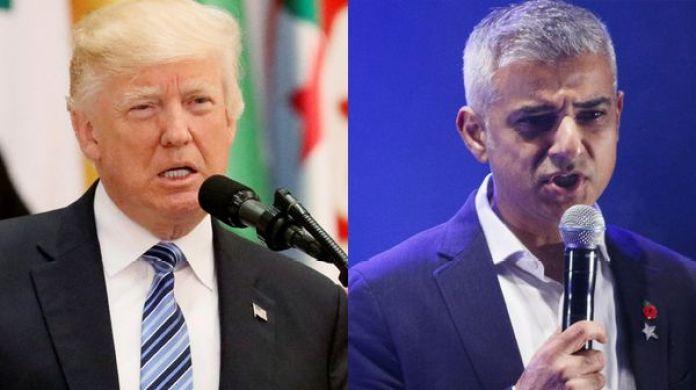 El presidente de los Estados Unidos, Donald Trump, y Sadiq Khan, alcalde de Londres