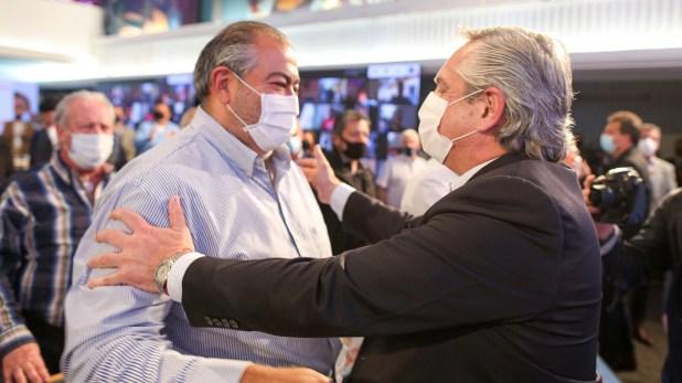 Héctor Daer, cotitular de la CGT, y Alberto Fernández