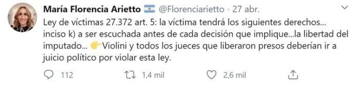 Florencia Arietto se refirió al juez Violini en las redes sociales