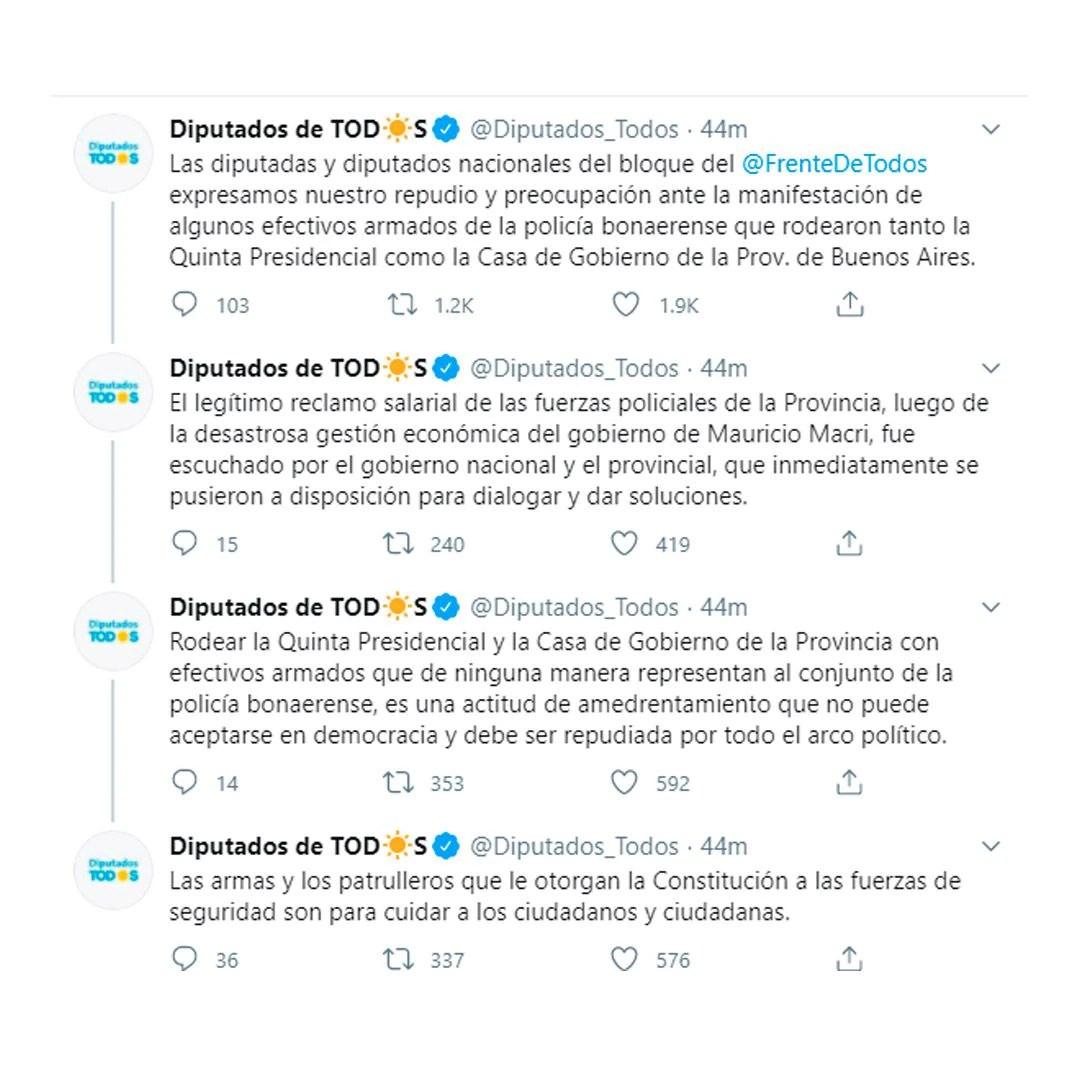 Repudio a la protesta policial en la Quinta de Olivos