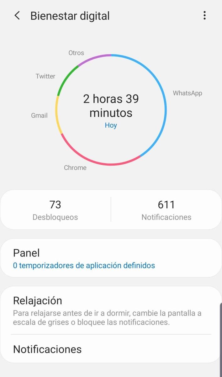 La herramienta de bienestar digital permite saber cuánto tiempo se pasa usando el móvil, entre otras cuestiones.