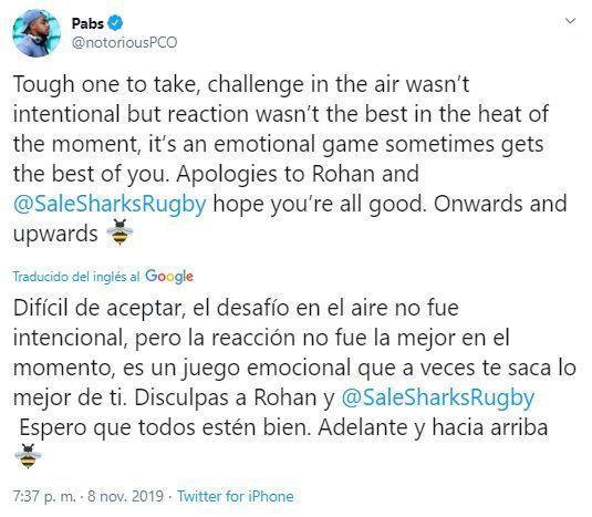 El jugador se disculpó en Twitter