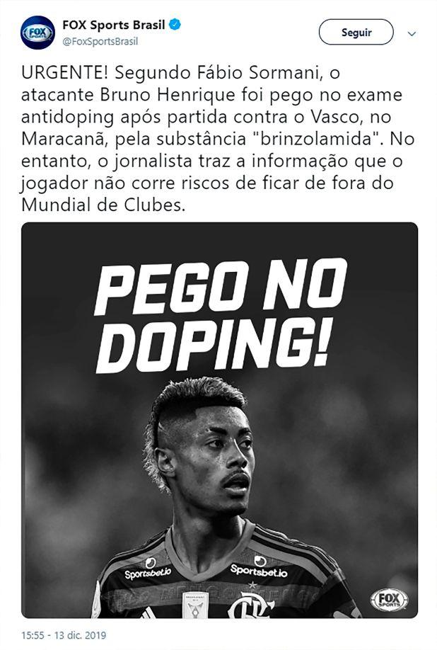 La información que brindó la cadena Fox Brasil sobre el supuesto doping positivo de Bruno Henrique