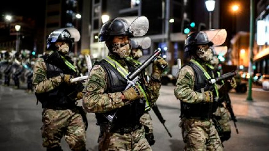 Members of the army deployed to La Paz on October 17, 2020, on the eve of the general elections.  (AFP)