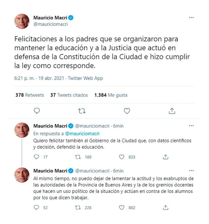 Mauricio Macri clases presenciales