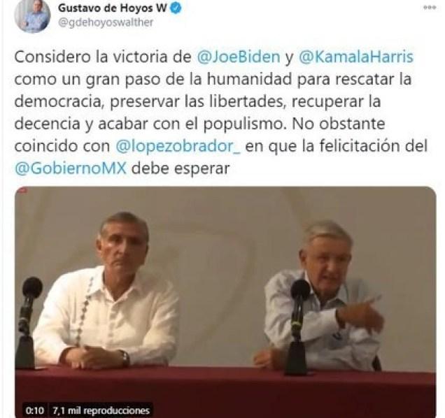 Gustavo de Hoyos, presidente de la Coparmex, coincidió con AMLO (Foto: Twitter / @gdehoyoswalther)