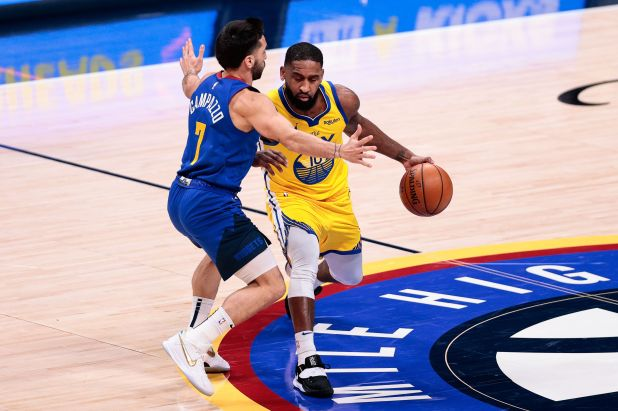 Facundo Campazzo tuvo acción en la victoria de los Denver Nuggets ante los Golden State Warriors (Credit: Isaiah J. Downing-Usa Today Sports)