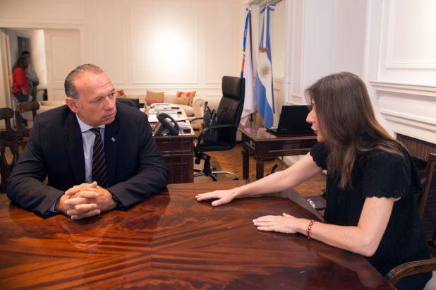 Sabina Fréderic y Sergio Berni (Prensa Seguridad)