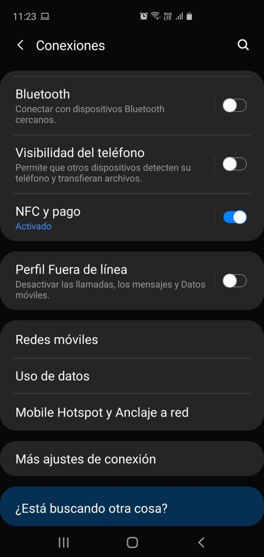 Dentro del menú de configuración del celular la opción