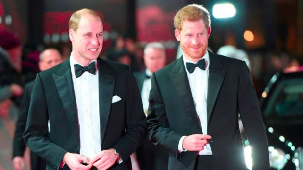"Los príncipes William y Harry en el Royal Albert Hall de Londres para el estreno de ""Star Wars: Los último Jedi"" en 2017  (POOL/AFP - Eddie MULHOLLAND)"
