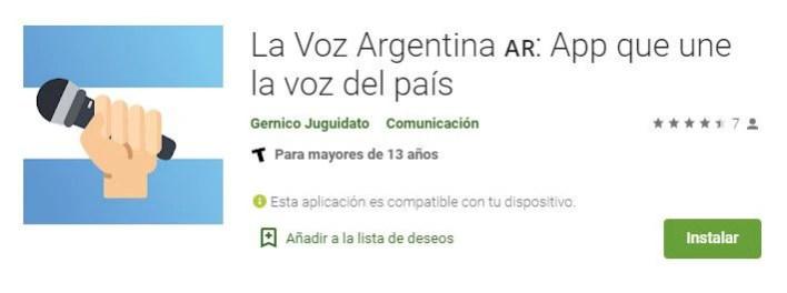 "App ""La voz argentina"""