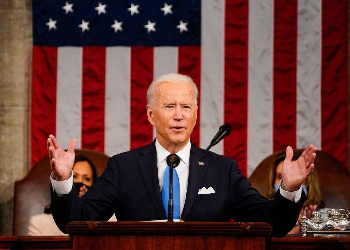 Joe Biden durante su discurso tras 100 días en el cargo