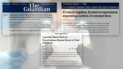 La noticia del suero equino hiperinmune como posible tratamiento a aprobarse, en los medios del mundo, meses atrás