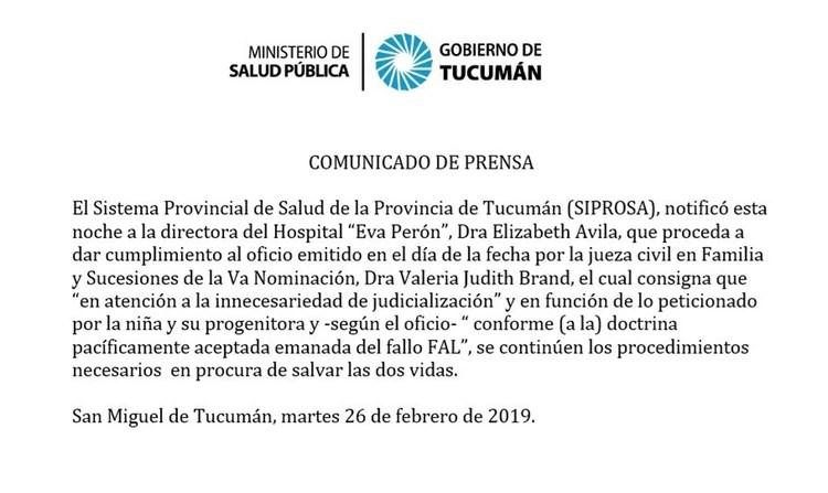 El confuso comunicado del Sistema Provincial de Salud de Tucumán