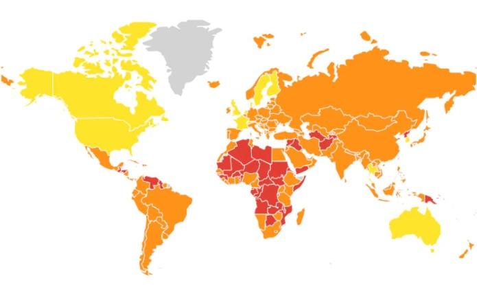 Sólo nueve países (en amarillo) están preparados para una epidemia global, según el Indice de Seguridad Sanitaria Global. Las zonas peores (en rojo) están en Medio Oriente y África; buena parte de América Latina está en un rango intermedio (en naranja). (Universidad Johns Hopkins/NTI)