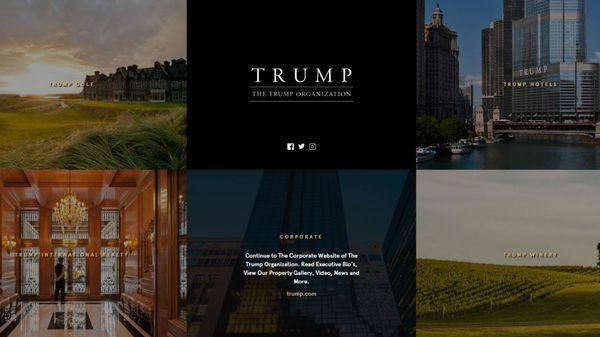El dominio web TrumpOrganization.com dirige a la página principal de la compañía del multimillonario