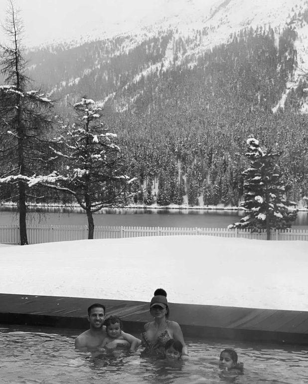 Cesc Fábregas y su pareja Daniella Semaan en un paradisíaco paisaje de Sankt Moritz en Suiza