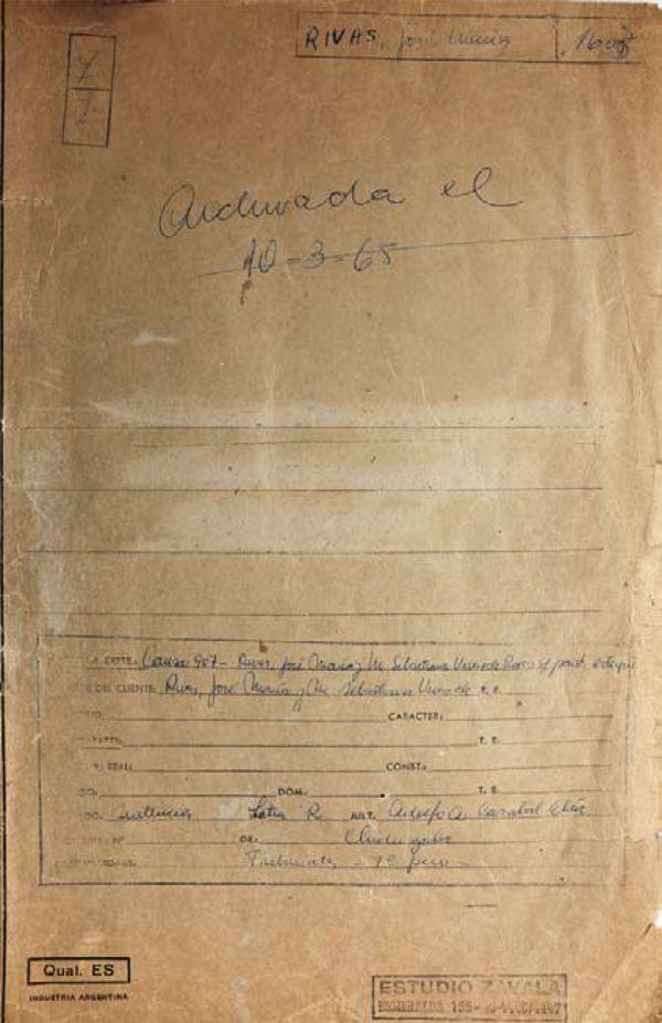 La causa judicial contra los Rivas (archivo de Juan Ovidio Zavala)