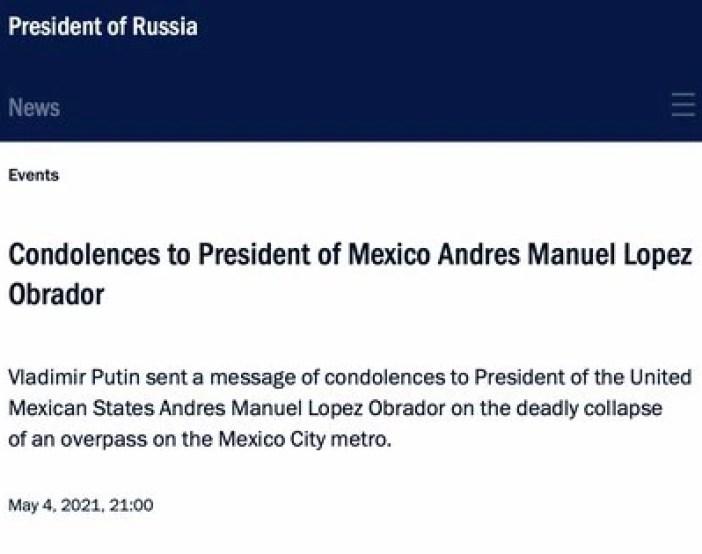 Rusia manda mensaje a López Obrador (Foto: captura de pantalla de la página de la presidencia de Rusia).