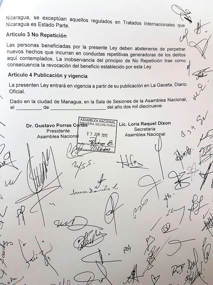 proyecto de ley de amnistia en nicaragua 2