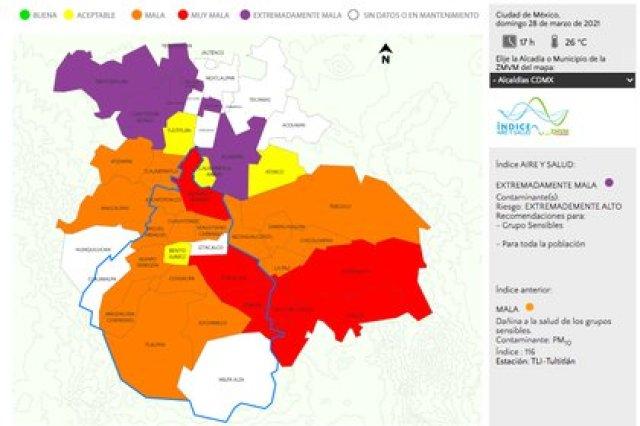 Reporte de calidad del aire en la CDMX (Foto: captura de pantalla / Aire CDMX)