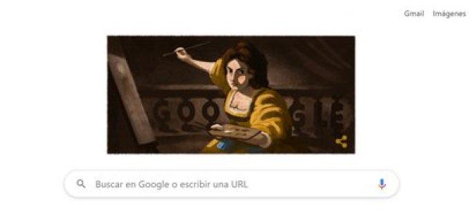 El doodle de Google de hoy homenajea a Artemisia Gentileschi.