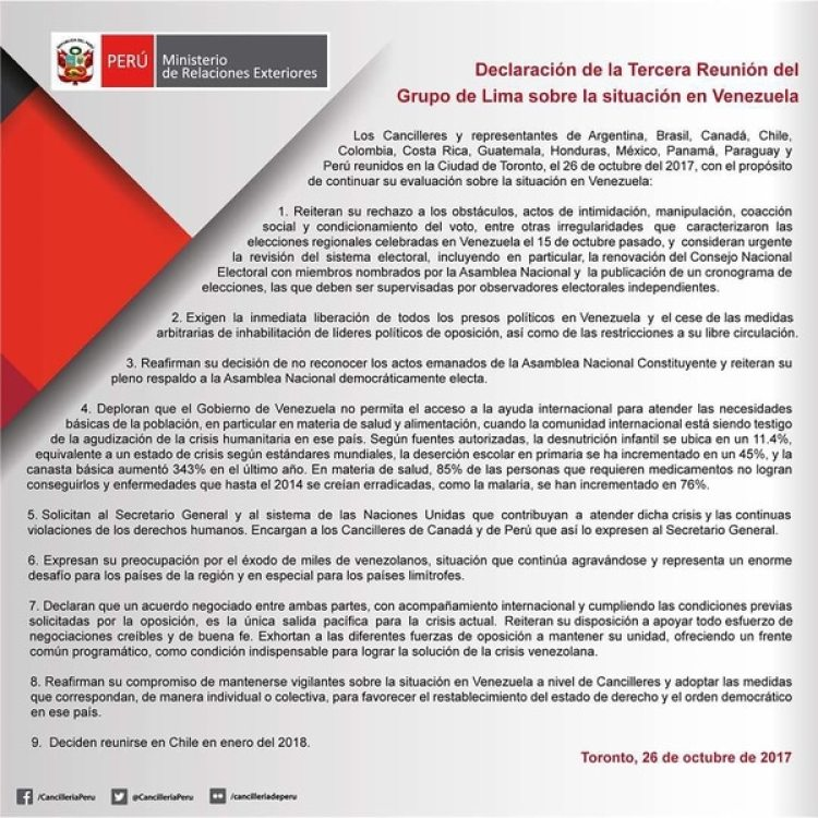 El comunicado del Grupo de Lima (@eleoviedoc)