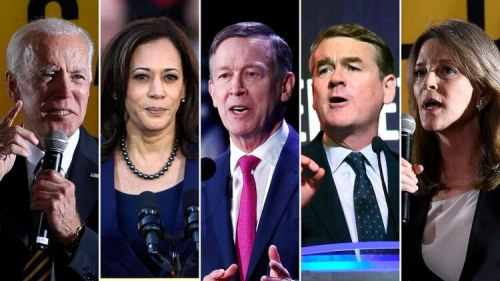 Joe Biden, Kamala Harris, John Hickenlooper, Michael Bennet y Marianne Williamson.