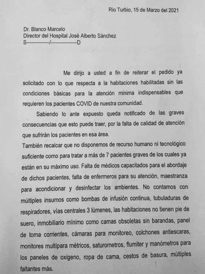 El pedido de los médicos del hospital de Río Turbio dirigido al director del centro médico
