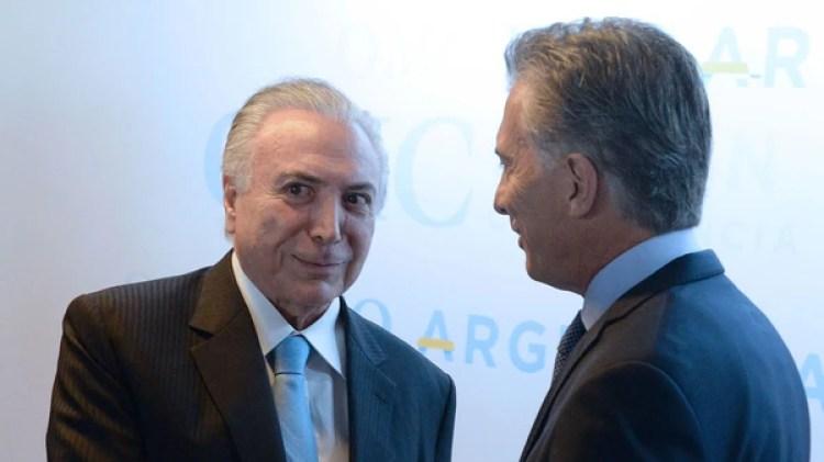 Macri junto al presidente de Brasil, Michel Temer (Presidencia)