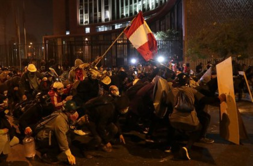 Protesters in the streets of Lima demand the departure of President Manuel Merino