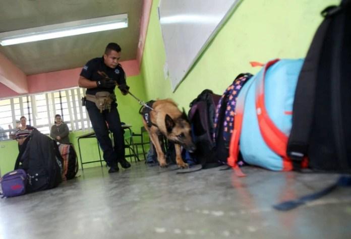 """Junto a su compañero, """"Capo"""" visitaba escuelas y registraba sus instalaciones en busca de narcóticos, objetos punzantes y armas (Foto: Facebook Gobierno de Ecatepec)"""