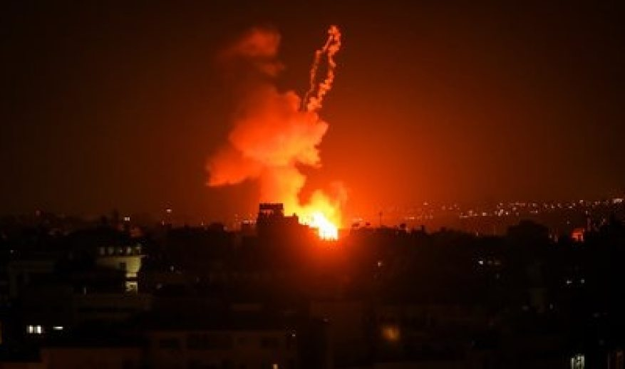 One of the recent Israeli bombings of Hamas facilities in the Gaza Strip in response to the launching of incendiary balloons by Palestinian citizens