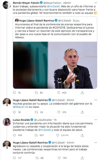Integrantes del gabinete federal manifestaron su reconocimiento al doctor López-Gatell por su desempeño frente a la emergencia de coronavirus (Foto: Twitter)