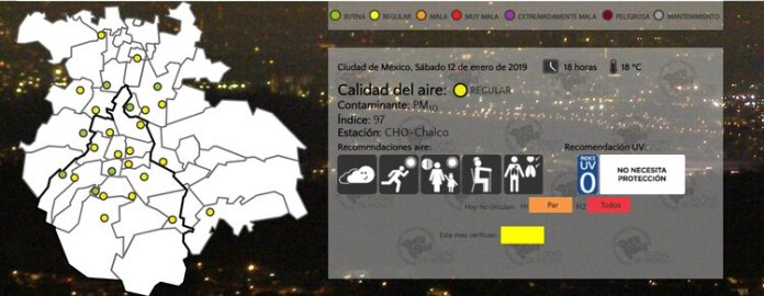 """Although the municipality of Chalco registered a """"bad"""" air quality, its values improved and for this afternoon the quality was already """"regular"""" (Photo: www.aire.cdmx.gob.mx)"""