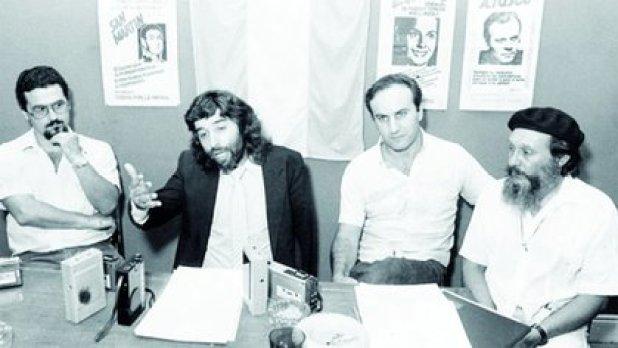 La mesa directiva del MTP poco antes del copamiento de La Tablada: Roberto Felicetti, Jorge Baños, Francisco Provenzano y Fray Antonio Puigjané (RevistaGENTE/Archivo Atlántida)