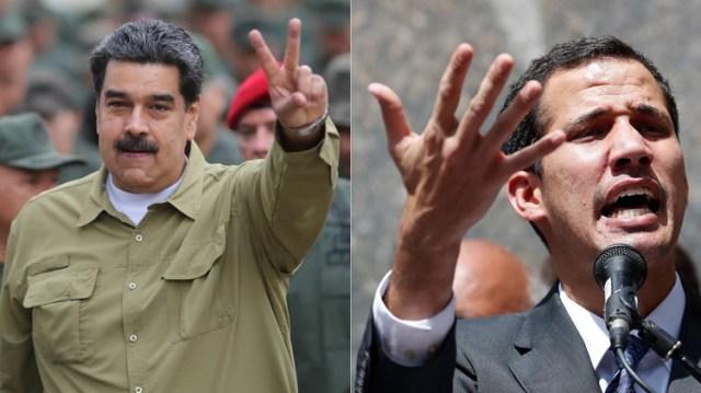 Nicolás Maduro y Juan Guaidó (Reuters)