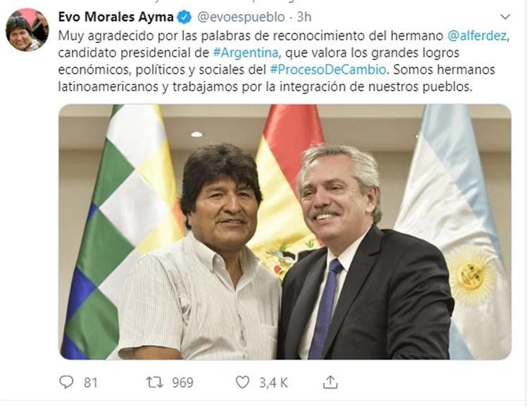 El presidente boliviano destacó el encuentro con una publicación en sus redes sociales