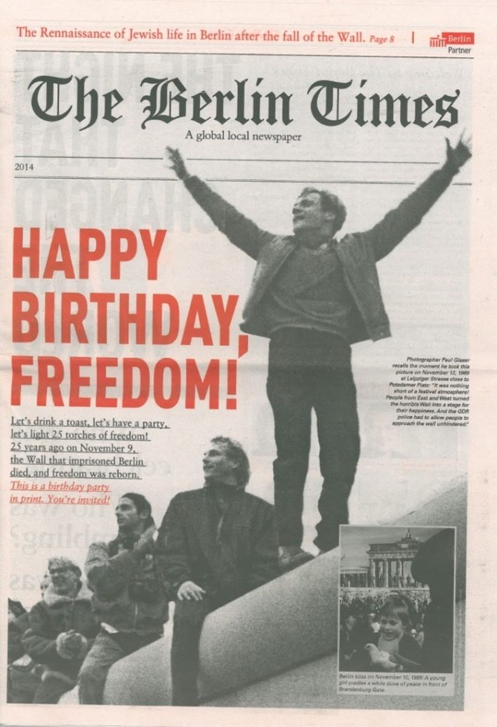 La tapa del periódico Berlin Times en un aniversario de la caída del Muro