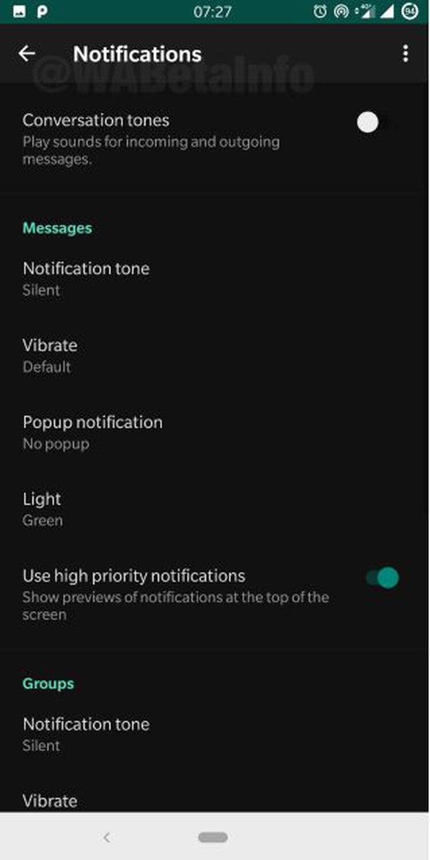 """El """"modo oscuro"""" sólo estaba disponible para los usuarios de Android que contaban con la actualización de la versión 2.19.47 beta (Foto: WABetaInfo)"""